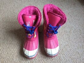 Little joules girls pink horses snow boots size 13
