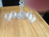 Cut glass/crystal decanter and glasses. Perfect condition