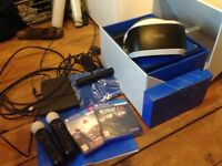 VR HEAD SET PLUS 2 GAMES RESIDENT EVIL/ FALLOUT , CAMERA, 2 X CONTROLLERS