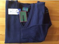 Glenmuir Lambswool V Neck Sweater,small navy,NEW with TAGS