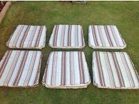 "6 large stripe waterproof patio set cushions - 23"" x 22"""