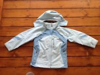 Columbia pale blue ski jacket 7-8 years with removable fleece