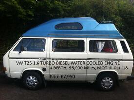 VW T25 Camper Van 1.6 Turbo Diesel Water Cooled Engine. J Reg 1991.
