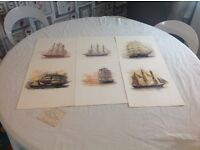 six unframed signed water colour paintings