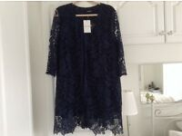 REDUCED IN PRICE -NAVY LACE JACKET -UNWORN WITH TAGS ATTACHED