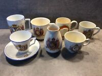 7 old commemorative mugs/teacup saucer and vase