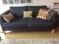 Two seater, sturdy, 100% cotton fabric, clean and recently washed sofa