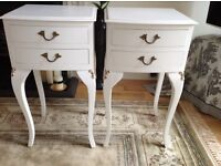 FRENCH LOUIS STYLE VINTAGE PAIR OF WHITE WOOD BEDSIDE TWO DRAWER TABLES - LAURA ASHLEY PAINT
