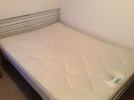 Chrome double bed frame and mattress