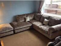 Velvet chaise sofa & Footstool
