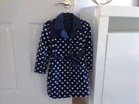 Girls blue heart detail coat with bow back
