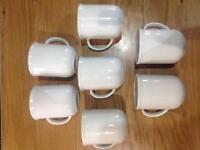 7 x White Mugs - New