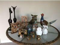 Owls, pheasant and 2 reindeer ornaments. Good condition.