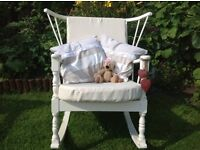 Antique vintage winged, stick back rocking chair