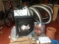 Wood burner stove,flexiliner,chimney cowl, and two bags of versatile insulation.
