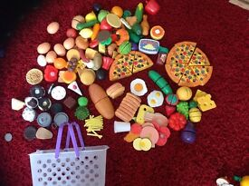 Children's play food wooden and plastic lots of sets food tills ect