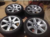 set of 4 BMW 225/45 R17 alloy wheels with tyres