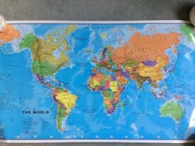 """World Map Gloss Poster 23"""" H x 41"""" W approx"""
