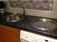 ROUND STAINLESS STEEL SINK & DRAINER with FRANKE MIXER TAP