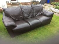 Brown leather 3 seater sofa good condition