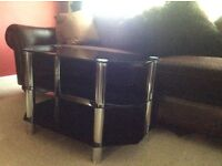 Black Glass/Chrome Television Table