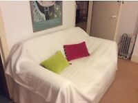 Comfortable white linen double sofa-bed for free!