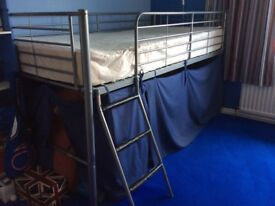 Raised Single Bed Frame with covered Den below