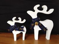 christmas star gazing reindeer decorations mother and baby white gold bells blue gold olaf ribbon
