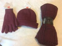 Ladies Hat Gloves and Scarf Shawl Bundle NWT