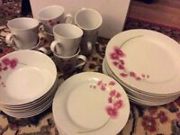 Tabletop 32 piece pink orchid dining service