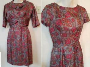 3 4 XS Vintage Dress and Short Jacket Set SUMMER 1960S Print paisley Red Gray Rayon Wiggle skirt