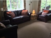 Marks and Spencer Abbey three piece suite includes sofa and two armchairs - brown leather