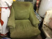 Old green chair for reupholstering