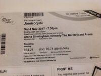 2 Jamiroquai standing tickets for Arena Birmingham on Saturday 4th Nov