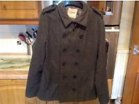 TOPMAN grey coat size medium 38-40' chest. 60% wool. Bottom button missing hence price.***REDUCED***