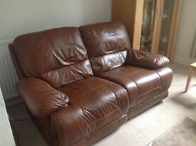 Leather two and three seater sofa's