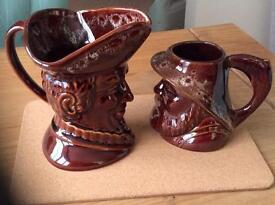 Two kernewek character jugs
