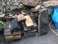 6 bin bags of rubble plus bricks/large rocks