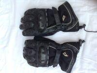 Black leather biker gloves