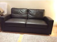 Two brown leather sofas, 2 seater & 3 seater with storage area