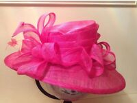 Shocking pink/fuschia wedding/races hat. Really stunning. Matching jacket. OFFERS CONSIDERED.