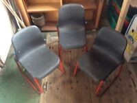 3 vintage school chairs