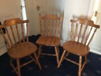 Pine chairs x 3