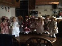 8 Porcelain Dolls. All in excellent Con.
