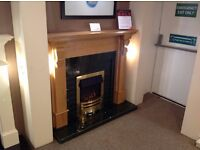 Oak Mantel with Green Tiled Backpanel & Hearth