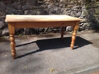 FABULOUS ANTIQUE PINE DINING TABLE WITH DRAWER AT ONE END. SCRUB TOP