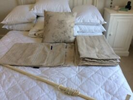 Grey/Natural Stripe Linen Curtains, Cushions and Curtain Pole
