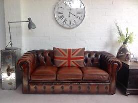 Oak brown Chesterfield sofa. Can deliver