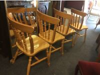 4 country pine farmhouse dining chairs