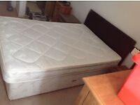 1x Leather Double Bed Complete with Mattress